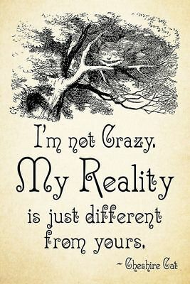 Alice In Wonderland Im Not Crazy Metal Tin Sign Poster Wall Plaque