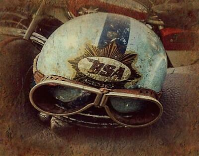 Bsa Helmet Vintage Retro Motorcycling  Metal Tin Sign Poster Wall Plaque