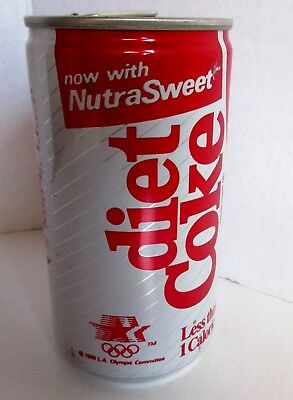 Vtg Coca Cola Diet Coke Can Full 12 oz Sealed 1980s Now w NutraSweet LA Olympic