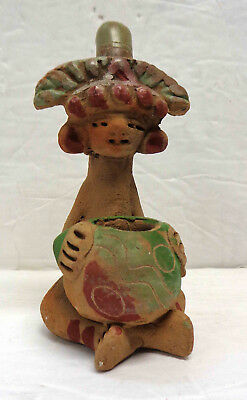 """Vintage Mexican Folk Art 4"""" Clay Pipe, Pre-Columbian Style!"""