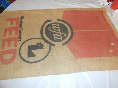 Vintage Burlap Feed Sack Bag Western Farmers