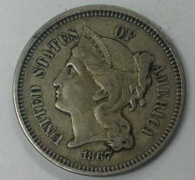 1867 Three Cent Nickel ~ True Auction 99 Cent Starting Bid And No Reserve!