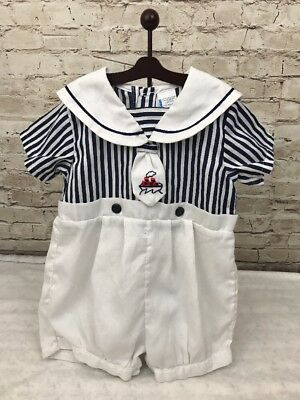 Vintage Boy Pleated Bubble Romper Navy Collar Embroidered Ship Tie
