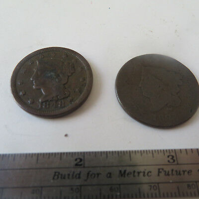 Coin U.s.  1848 Large One Cent   And  1827  Bonus