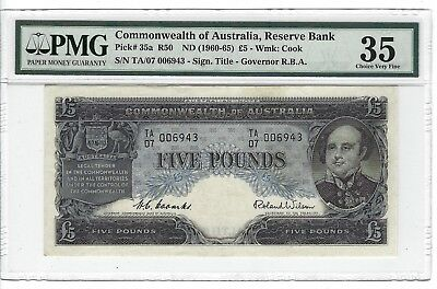 P-35a 1960-65 5 Pounds, Austrakia Reserve Bank, PMG 35 Choice Very Fine