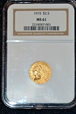 1915 $2.50 Indian Gold Coin. Ngc  Ms61