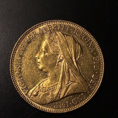 "1901 MELBOURNE MINT  Queen Victoria. Gold ""Veiled Bust"" Sovereign Coin. 7.97gm!"