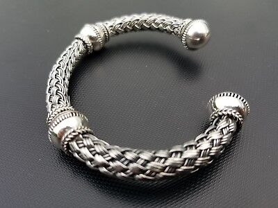 "Handmade BaliSterling Silver .925 New Design Bali Cuff Bracelet 7-8"" Adjustable!"