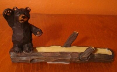 BLACK BEAR WAVING BUSINESS CARD HOLDER Faux Lodge Wood Carved Cabin Office Decor
