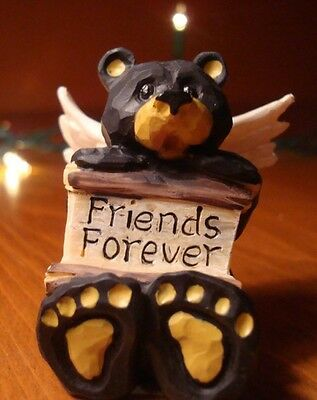 FRIENDS FOREVER Lodge Faux Wood Carved BLACK BEAR ANGEL Cabin Figurine Decor NEW