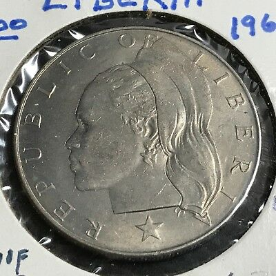 1968 Liberia One Dollar  Brilliant Uncirculated Large Coin