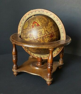 Vintage Italian Old World Globe in Latin Celestial with Zodiac Signs