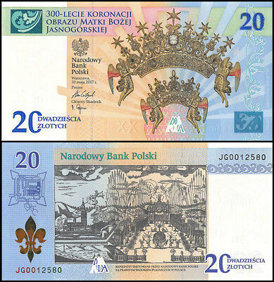Poland 20 Zlotych Banknote, 2017, P-191, UNC, 300th Anniversary, In Folder