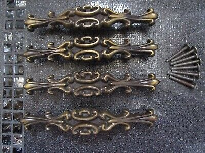 Lot of 4 Made in CANADA Wrought ''ALLOY'' Drawer Cabinet Pulls Handles VINTAGE