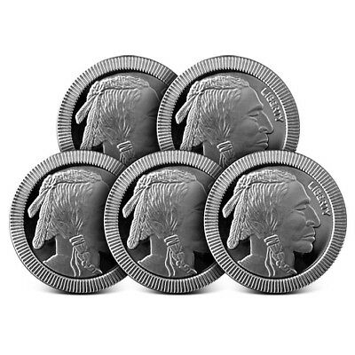 Lot of 5 - 1 oz Silvertowne .999 Fine Silver Rounds American Buffalo Stackable