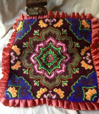 Antique Vintage Hand Embroidered Needle Point Pillow Eastern European