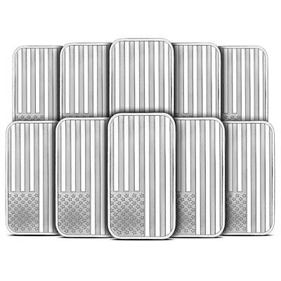 Lot of 10 - 1 oz Sliver Bar Silvertowne American Flag Design .999 Fine - Sealed