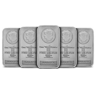 Lot of 5 - 1 oz Silver Bar Highland Mint HM Morgan Design .999 Fine New & Sealed