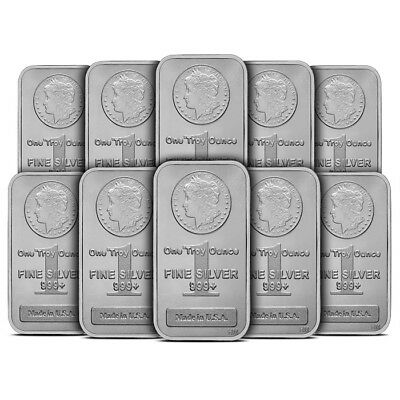 Lot of 10 - 1 oz Silver Bar Highland Mint HM Morgan Design .999 Fine Sealed