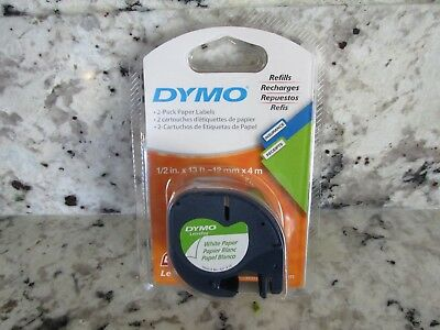 Dymo 10697 Letratag Pack Paper Label Refills White 1 2 X