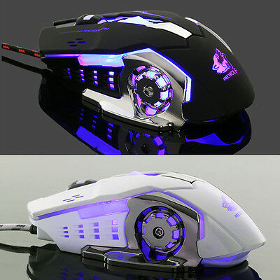 Pro Ergonomic Wired LED Light 4000DPI Optical Usb Gamer Gaming Mouse Metal Plate