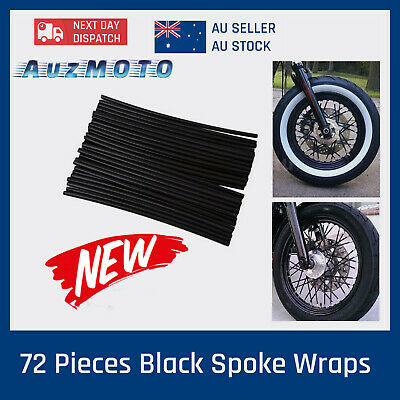 72x Black Wheel Rim Spoke Wraps Skins Cover Fit For Motorcycle Dirt Bikes