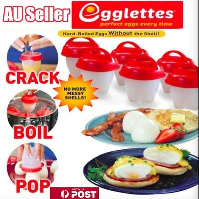 6 PCS Egglettes Hard Cooker Boil Eggs Cooker Eggies poacher Kitchen Tools AU