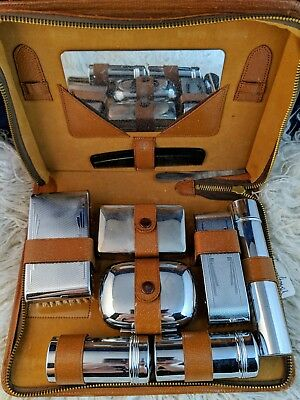 English VIntage Travel Shaving Kit Art Deco Chrome Plated Soap Case Mirror UK