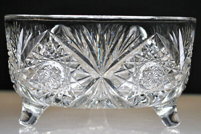 """American Brilliant Period ABP 8"""" THREE FOOTED BOWL"""