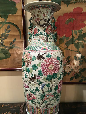 A Monumental Chinese Qing Dynasty Famille Rose Porcelain Vase.