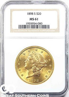 1898-S NGC Double Eagle, $20 Gold Liberty NGC MS 61 ** Brilliant Mint Luster!