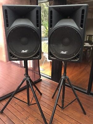REVO 15 by AVE DJ Speakers on Stands (not working)