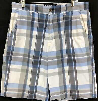 American Eagle Outfitters Sz 36 Madras Plaid Patchwork Shorts Longer Length Belt Clothing, Shoes & Accessories