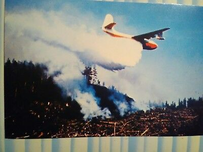 Vintage Post Card Mars Water Bomber In Action Over Vancouver Island B.c.canada