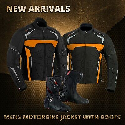 New Motorcycle Mens Armoured Jacket Coat Boot Waterproof Motorbike Touring Shoes