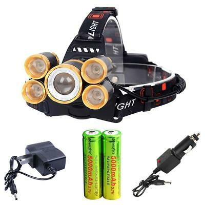 80000 LM 5 XM-L T6 LED USB Headlight Zoom Head Lamp +2X18650 Battery &Charger BR