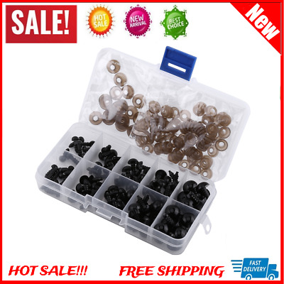 100pcs 6-12mm Black Plastic Safety Eyes with Gaskets For Teddy Bear Dolls Toy