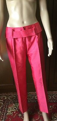 Silk trousers summer trousers  L`EQUIPE  Woman, coral color, size 42  Pantaloni