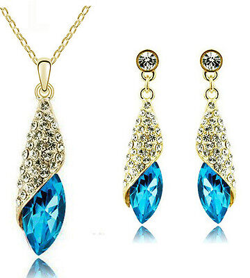 Gold Crystal Blue Teardrop Diamante Jewellery Set Drop Earrings Necklace S680