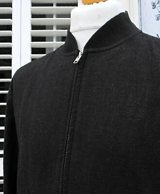 Fred Perry Black Wool Bomber Jacket - L/XL - Ska Mod Scooter Casuals Skins Rare