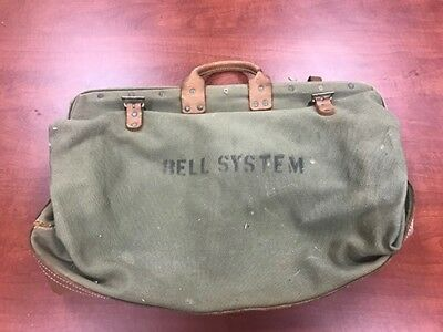 L974- Vintage Bell System Industrial Lineman's Canvas Tool Bag Bell Telephone