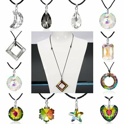New Charm Colorful Round Love Heart Moon Crystal Pendant Necklace Jewelry Gift