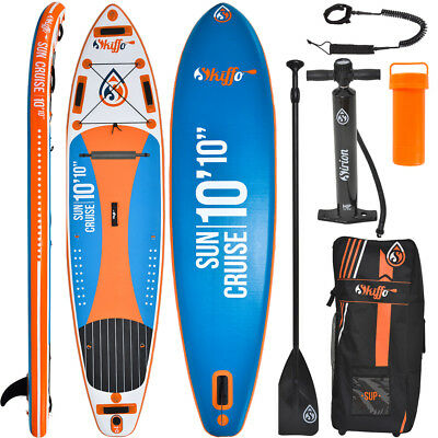 SKIFFO SUP Board Stand Up Paddle Surf-Board aufblasbar Paddel ISUP Aqua 330 cm