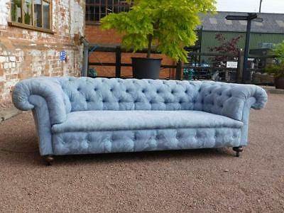 19th CENTURY ANTIQUE POWDER BLUE COUNTRY HOUSE CHESTERFIELD SOFA SETTEE
