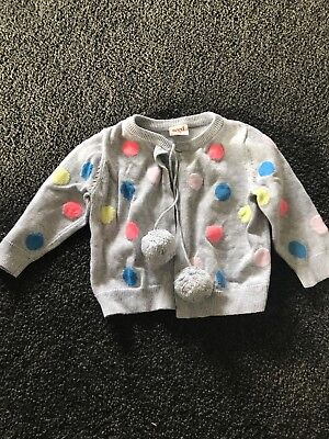 Seed knitted pom pom cardigan 3-6 months