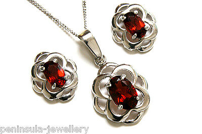 9ct White Gold Garnet Celtic Pendant necklace and Earring Set Made in UK Boxed