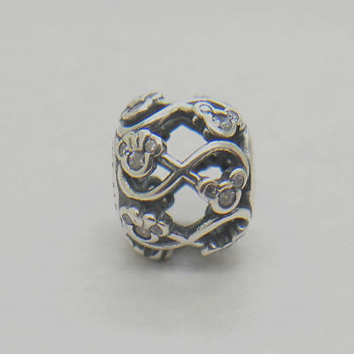 Authentic Sterling Silver Minnie & Mickey Infinity Disney CZ Bead Charm