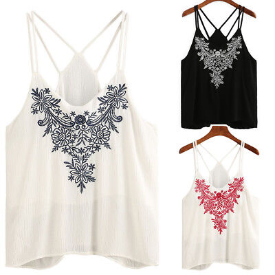 da8309715908f2 Summer Women Lace V Neck Vest Tank Tops Flower Embroidered Strappy Camisole  Tops