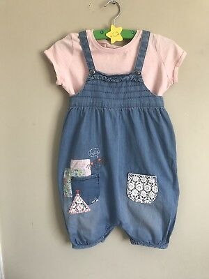 Next Age 5-6 Years Sun Summer Dungarees Romper Playsuit T Shirt Pink Girl