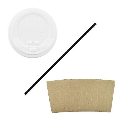 100 Pack - 16 Oz Disposable Hot Paper Coffee Cups, Lids, Sleeves, Straws
